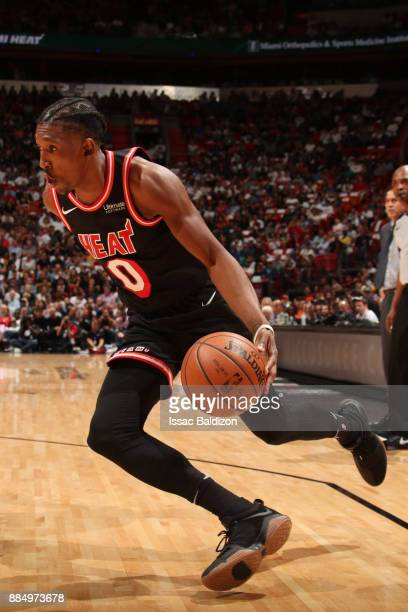 Josh Richardson of the Miami Heat handles the ball during the game against the Golden State Warriors on December 3 2017 in Miami Florida NOTE TO USER...