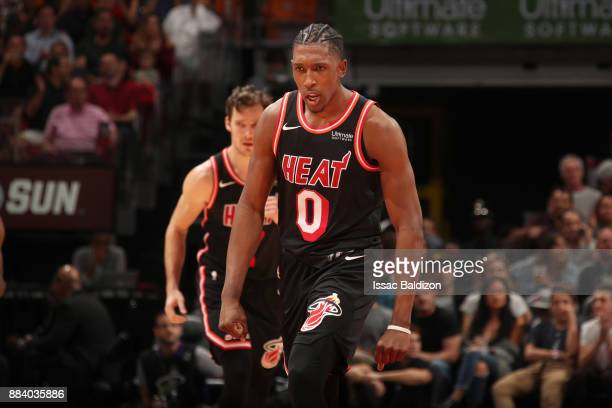 Josh Richardson of the Miami Heat reacts to a play during the game against the Charlotte Hornets on December 1 2017 at American Airlines Arena in...