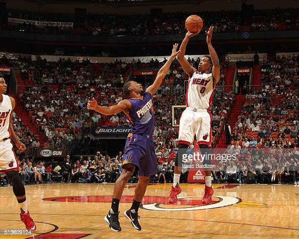 Josh Richardson of the Miami Heat shoots against the Phoenix Suns during the game on March 3 2016 at American Airlines Arena in Miami Florida NOTE TO...