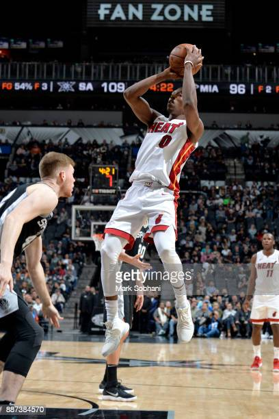 Josh Richardson of the Miami Heat shoots the ball against the San Antonio Spurs on December 6 2017 at the ATT Center in San Antonio Texas NOTE TO...