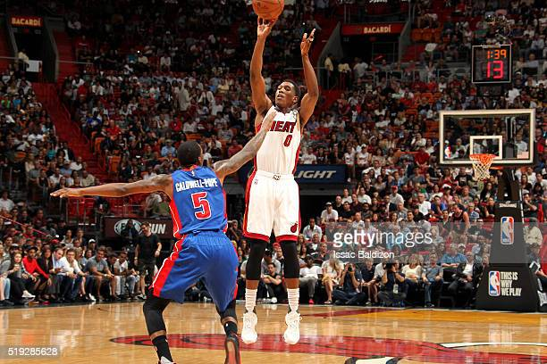 Josh Richardson of the Miami Heat shoots the ball during the game against the Detroit Pistons on April 5 2016 at AmericanAirlines Arena in Miami...