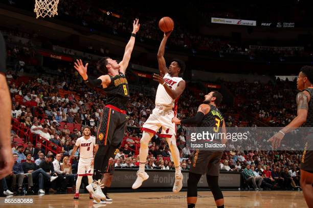 Josh Richardson of the Miami Heat shoots the ball during the game against the Atlanta Hawks on October 23 2017 at American Airlines Arena in Miami...