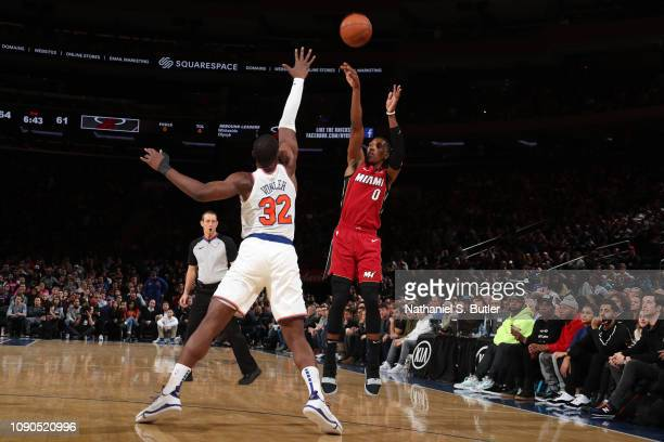 Josh Richardson of the Miami Heat shoots three point basket over Noah Vonleh of the New York Knicks on January 27 2019 at Madison Square Garden in...
