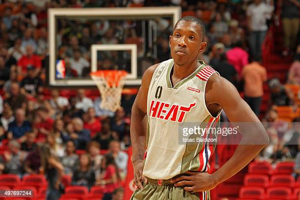 Josh Richardson of the Miami Heat stands on the court against the Utah Jazz on November 12 2015 at American Airlines Arena in Miami Florida NOTE TO...