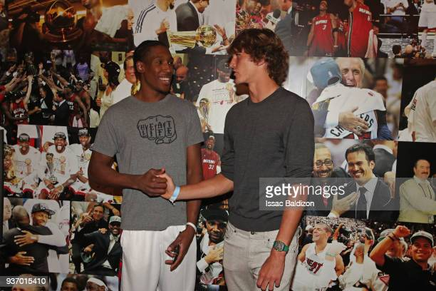 Josh Richardson of the Miami Heat talks with Tennis Player Alexander Zverev after the game against the New York Knicks on March 21 2018 at American...