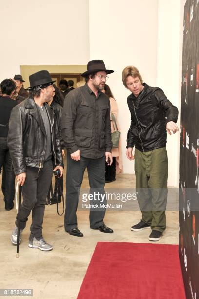 Josh Richman Jonathan Brown and Elijah Blue attend Elijah Blue And Kantor Gallery Present 'StepandRepeat' at Kantor Gallery on February 24 2010 in...
