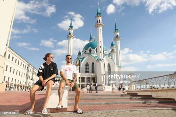 Josh Risdon and Jackson Irvine of Australia take a walk through the city of Kazan on June 23 2018 in Kazan Russia