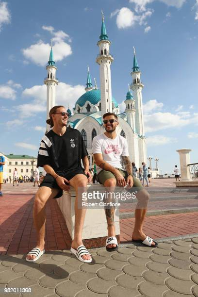 Josh Risdon and Jackson Irvine of Australia take a walk through the city of Kazan on June 23 2018 in Kazan Russia