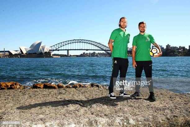 Josh Risdon and Josh Brillante pose after the Australian Socceroos World Cup Preliminary Squad Announcement at Lady Macquarie's Chair on May 7 2018...