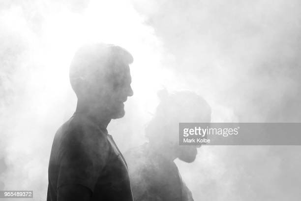 Josh Risdon and Josh Brillante pose in smoke during a photo shoot after the Australian Socceroos World Cup Preliminary Squad Announcement at Lady...