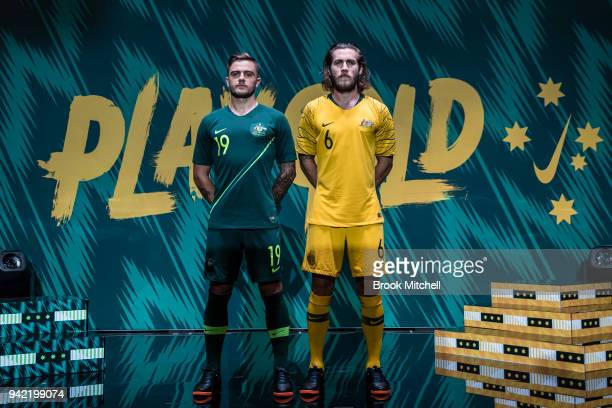 Josh Risdon and Joshua Brillante during the Nike Football: Australian National Team Kit Launch on April 5, 2018 in Sydney, Australia.