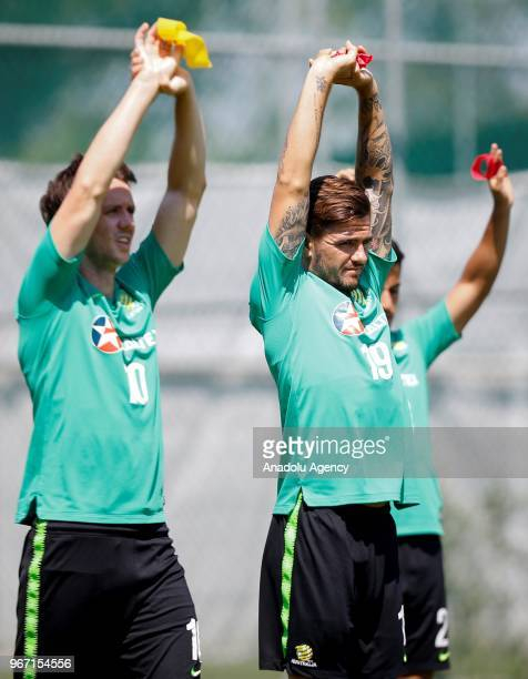 Josh Risdon and Robbie Kruse of Australia attend a training session ahead of the Russia 2018 World Cup on June 04 2018 in Antalya Turkey