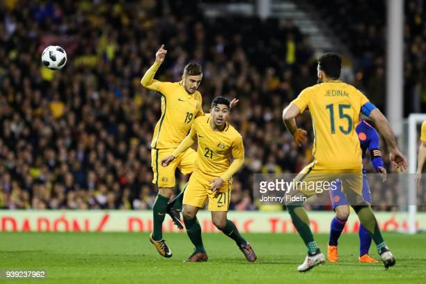 Josh Risdon Massimo Luongo and Mile Jedinak of Australia during the International friendly match between Colombia and Australia at Craven Cottage on...