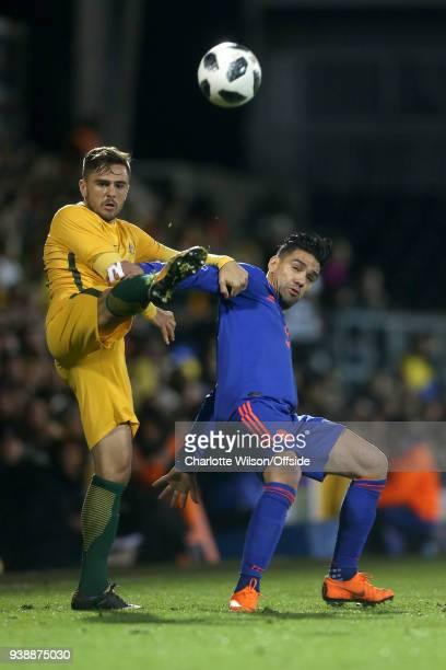 Josh Risdon of Australia and Radamel Falcao of Colombia battle for the ball during the International Friendly match between Australia and Colombia at...