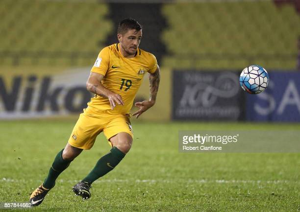 Josh Risdon of Australia chases the ball during the 2018 FIFA World Cup Asian Playoff match between Syria and the Australia Socceroos at Hang Jebat...