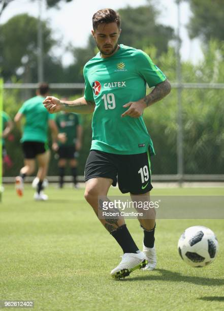 Josh Risdon of Australia controls the ball during the Australian Socceroos Training Session at the Gloria Football Club on May 26 2018 in Antalya...