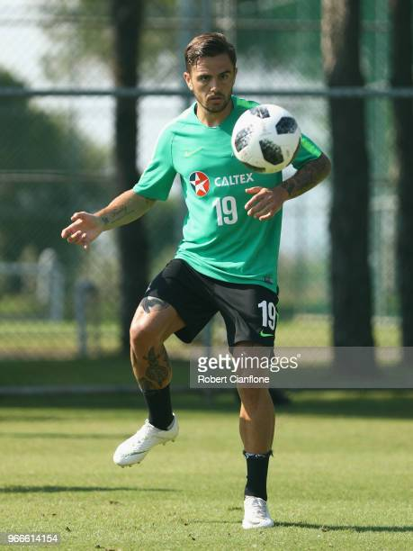Josh Risdon of Australia controls the ball during the Australian Socceroos Training Session at the Gloria Football Club on June 3 2018 in Antalya...