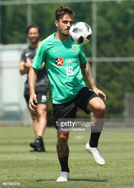 Josh Risdon of Australia controls the ball during the Australian Socceroos Training Session at Gloria Football Club on June 5 2018 in Antalya Turkey