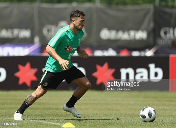 Josh Risdon of Australia controls the ball during the Australian Socceroos Training Session at the Gloria Football Club on June 7 2018 in Antalya...