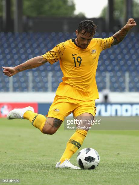 Josh Risdon of Australia kicks the ball during the International Friendly match between the Czech Republic and Australia Socceroos at NV Arena on...