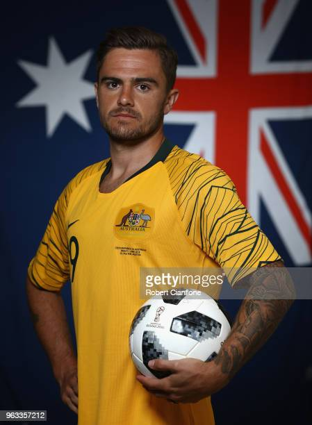 Josh Risdon of Australia poses during the Australian Socceroos Portrait Session at the Gloria Football Club on May 28 2018 in Antalya Turkey