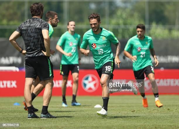 Josh Risdon of Australia runs during the Australian Socceroos Training Session at Gloria Football Club on June 5 2018 in Antalya Turkey