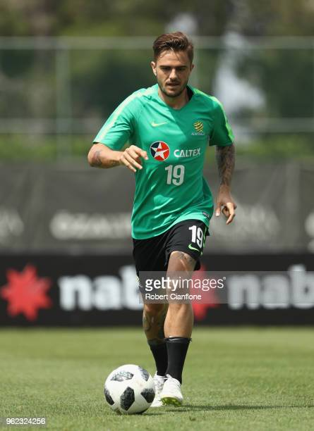 Josh Risdon of Australia runs with the ball during the Australian Socceroos Training Session at Gloria Football Club on May 25 2018 in Antalya Turkey