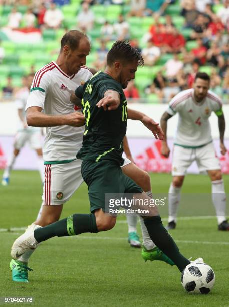 Josh Risdon of Australia runs with the ball during the International Friendly match between Hungary and Australia at Groupama Arena on June 9 2018 in...