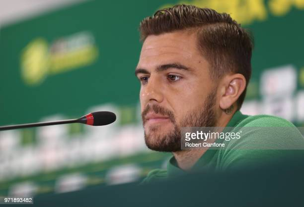 Josh Risdon of Australia speaks to the media during an Australia Socceroos media opportunity at Stadium Trudovye Rezervy on June 12 2018 in Kazan...