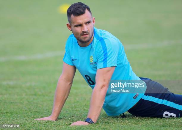 Josh Risdon of Australia warms up during a training session ahead of the leg 1 of FIFA World Cup Qualifier Playoff against Honduras at Estadio...