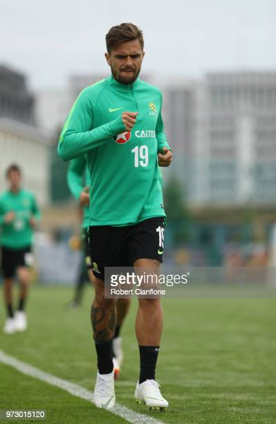 Josh Risdon of Australia warms up during an Australia Socceroos training session ahead of the FIFA World Cup 2018at Stadium Trudovye Rezervy on June...