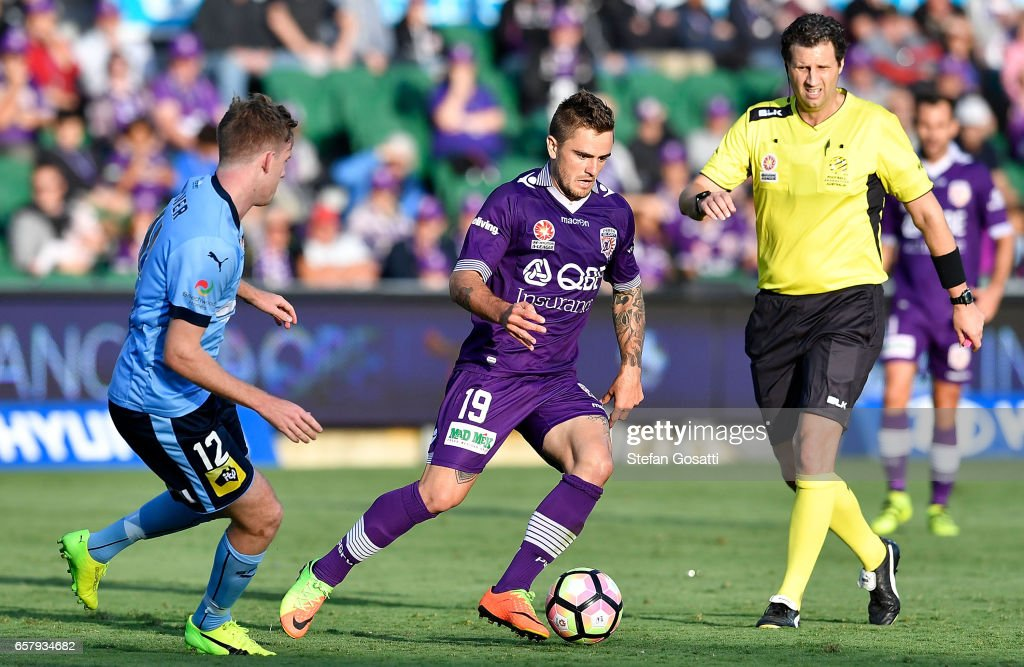 Josh Risdon of the Glory controls the ball during the round 24 A-League match between Perth Glory and Sydney FC at nib Stadium on March 26, 2017 in Perth, Australia.