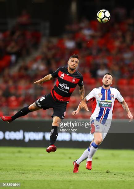 Josh Risdon of the Wanderers and Roy OÕDonovan of the Jets compete for the ball in the air during the round 20 ALeague match between the Western...