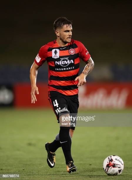 Josh Risdon of the Wanderers controls the ball during the FFA Cup Semi Final match between the Western Sydney Wanderers and Adelaide United at...