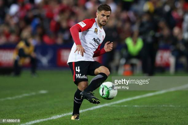 Josh Risdon of the Wanderers controls the ball during the match between the Western Sydney Wanderers and Arsenal FC at ANZ Stadium on July 15 2017 in...