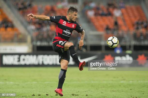 Josh Risdon of the Wanderers controls the ball during the round one ALeague match between the Western Sydney Wanderers and the Newcastle Jets at...
