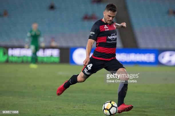 Josh Risdon of the Wanderers crosses the ball towards goal during the round 17 ALeague match between the Western Sydney Wanderers and Melbourne...