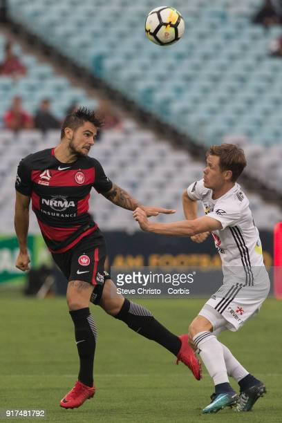 Josh Risdon of the Wanderers is challenged by Phoenix's Michael Mc Glinchey during the round seven ALeague match between the Western Sydney Wanderers...