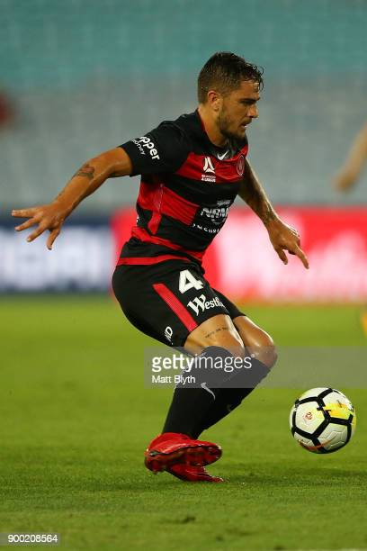 Josh Risdon of the Wanderers kicks during the round 13 ALeague match between the Western Sydney Wanderers and Melbourne City at ANZ Stadium on...