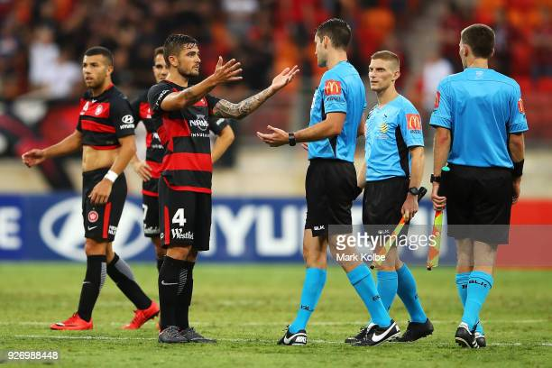 Josh Risdon of the Wanderers makes huis point to referee Jarred Gillett after the match during the round 23 ALeague match between the Western Sydney...