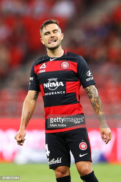 Josh Risdon of the Wanderers reacts after a missed chance during the round 20 ALeague match between the Western Sydney Wanderers and the Newcastlee...