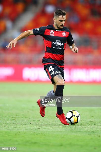 Josh Risdon of the Wanderers runs the ball forward during the round 20 ALeague match between the Western Sydney Wanderers and the Newcastlee Jets at...