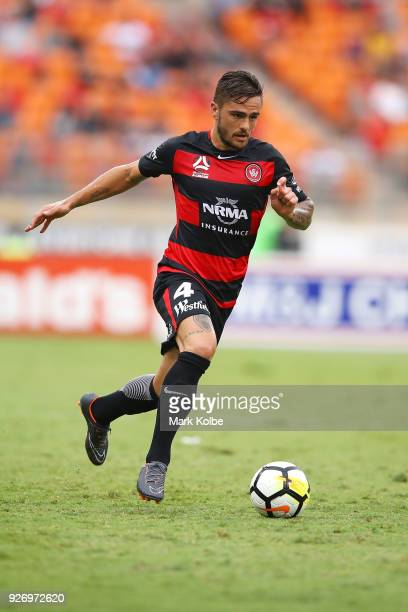 Josh Risdon of the Wanderers runs with the ball during the round 23 ALeague match between the Western Sydney Wanderers and the Perth Glory at...