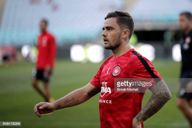 Josh Risdon of the Western Sydney Wanderers is pictured before the round 27 ALeague match between the Western Sydney Wanderers and Adelaide United at...