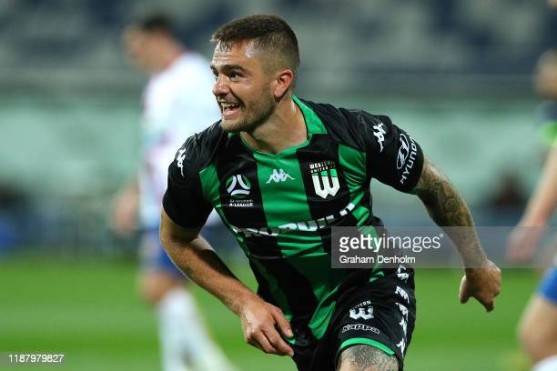 Josh Risdon of Western United celebrates his goal during the round 6 A-League match between Western United and the Newcastle Jets at GMHBA Stadium on...
