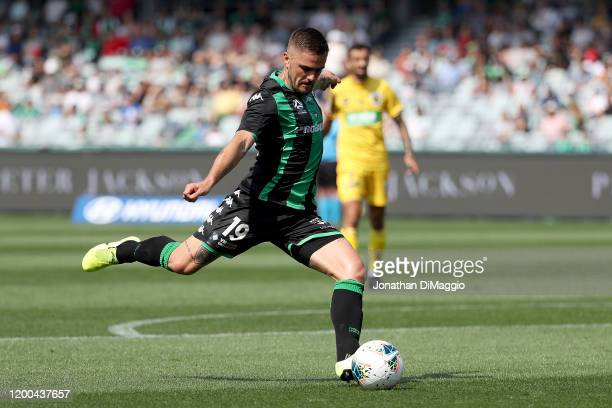 Josh Risdon of Western United in action during the round 15 ALeague match between Western United and the Central Coast Mariners at GMHBA Stadium on...