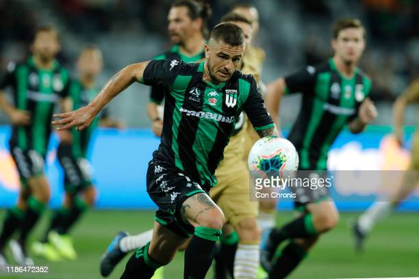 Josh Risdon of Western United runs with the ball during the Round 5 A-League match between Western United and the Western Sydney Wanderers at GMHBA...