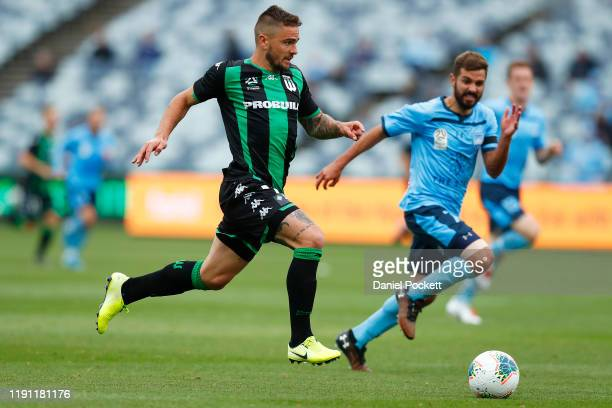 Josh Risdon of Western United runs with the ball during the round eight ALeague match between Western United and Sydney FC at GMHBA Stadium on...