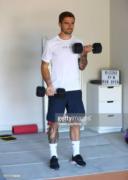 Josh Risdon player for ALeague side Western United trains in isolation at home due to the COVID19 pandemic on April 09 2020 in Melbourne Australia