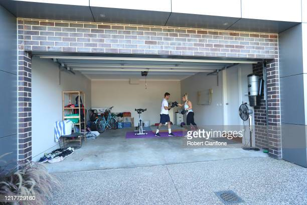 Josh Risdon player for ALeague side Western United trains in isolation with his wife Ebony at home due to the COVID19 pandemic on April 09 2020 in...